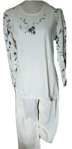 Maternity Womens LADIES Pyjama Set Nightwear Ecrue Meshy Sleeves S M 10 12