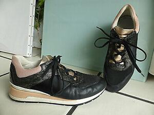 Geox Sneaker 39 schwarz rosa metallic+Lack-Patches Leder+Mesh