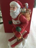 "Lenox Santa's Downhill Dash Snow Skiing With Gifts 8"" Tall Christmas Figurine"