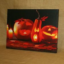 Lighted Painted Canvas Halloween Jack O Lanterns Wall Picture