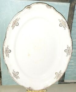 Vintage Heavy Mellor &Co. Vernon White  Oval 16'' platter Gold design and Trim