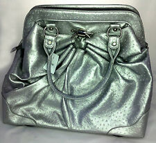 Silver Ostrich Print Ladies Travel Handbag extendable handle & 2 wheels Holdall