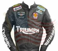 Made To Order Black Disstress  Leather Motorcycle Racing Jacket Mens For Triumph