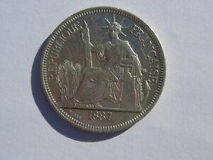 1 Piastre Indo-China Silver Coin 1887 (See Photos) #B514