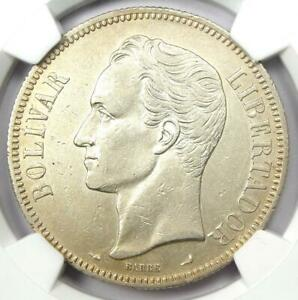 1901 Venezuela Republic 5 Bolivares Coin 5B - Certified NGC AU Details - Rare!