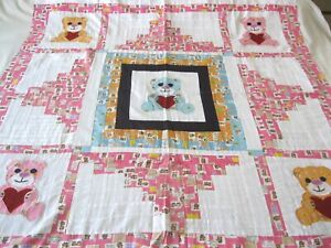 """Machine sewing patchwork and applique  handmade size 48""""x  52"""" quilt top"""