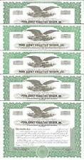 Penn Jersey Executive Session > set of 5 Pennsylvania stock certificates