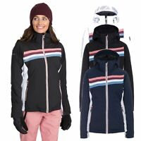 Trespass Womens Ski Jacket Waterproof Snow Coat in Black Navy & White