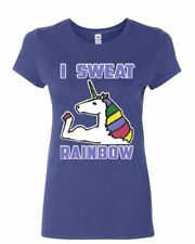 I Sweat Rainbows Women's T-Shirt Fabulous Unicorn Gym Workout Fitness Shirt
