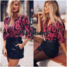Zara NWT Voluminous Printed Blouse Floral Puff Sleeve Medium