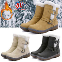Womens Winter Fur Lined Snow Ankle Boots Ladies Warm Grip Sole Pull On Shoes US