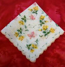 Linen Handkerchief Hankie Butterflies Daisies Roses Scalloped