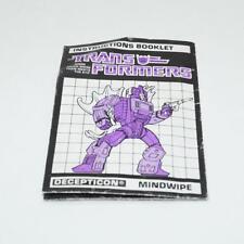 Mindwipe Action Figure Robot Instruction Manual 1987 Hasbro G1 Transformers