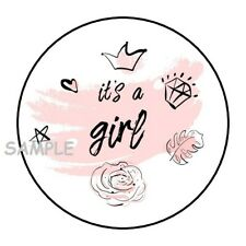 "30 IT'S A GIRL BABY SHOWER ENVELOPE SEALS LABELS STICKERS 1.5"" ROUND FAVORS"