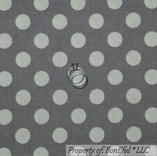BonEful Fabric Cotton Quilt VTG Gray White Large Polka Dot Stripe Boy SALE SCRAP