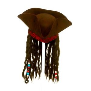 Caribbean Deluxe Pirate Hat With Hair & Beads Jack Sparrow Fancy Dress Accessory