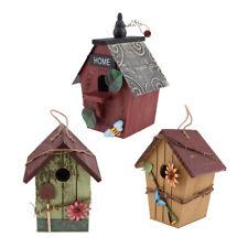 3Pcs Wood Bird Houses Courtyard Rustic Decorative Hanging Bird Nest Gift