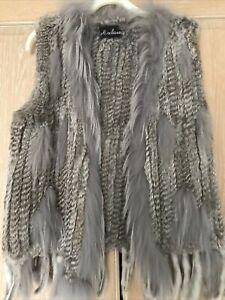 BNWT Stunning Real Grey Fur Gilet By Paris Designer Maclauren M/L Rrp £199