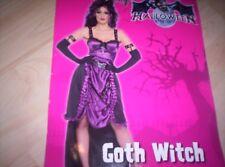 Damen Kostüm Goth Witch Gothic Hexe Halloween Corset Hut M Handschuhe Vamp