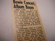 David Bowie Concert and Album Boom 1972 music biz promo trade article