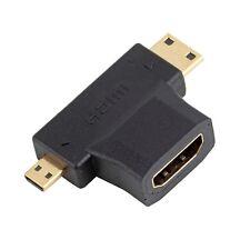 HDMI Female to Mini Micro HDMI Male V1.4 90 Degree 2 in 1 Convertor Adapter GO
