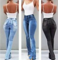 Women High Waist Retro Denim Jeans Stretch Slim Bell Bottom Pants Flare Trousers
