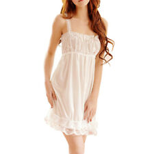Sexy Lace Spaghetti Strap Women Nightgown Silk V-Neck Lingerie Nightdress Pt