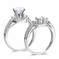 SFFD42 .925 Sterling Silver Round Cut CZ Engagement Wedding Ring Set Size 6,7,8