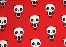 Robert Kaufman Urban Zoologie Pandas on Red 100% Cotton fabric by the half metre