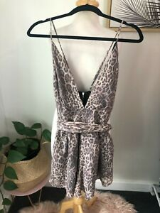 Bec & Bridge Leopard Print Strapy One Piece Play Suit Size 12 New w Tags