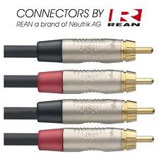 Câble 2 RCA Mâle vers 2 RCA Mâle Mono Conecteurs Neutrik REAN Long 3 METRES