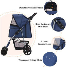 Folding 4 Wheels Pet Stroller for Small Medium Dogs Cats Large Space Double Seat