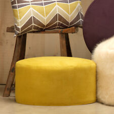 Porto Brushed Faux Suede Drum Pouffe Luxury Cylindrical Footstool Mustard Yellow