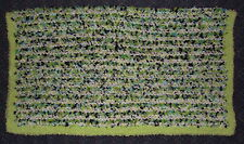 Navy, Lime Green & White Baby Afghan / Blanket with Green Fluffy Edging-So Soft!