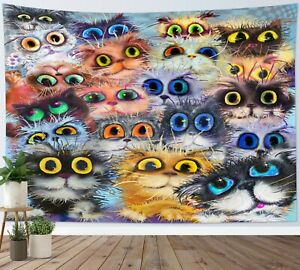 Cute Cartoon Cats Tapestry Funny Colorful Eyes Wall Hanging Home Bedspread Cover