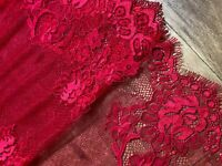"""laverslace Beautiful Red Floral Extra Wide Tulle Eyelash Lace Trim 11""""/28cm"""