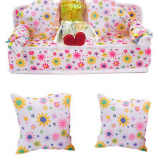 Mini Furniture Sofa Couch +2 Cushions For Barbie Doll House Accessories Dulcet