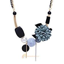 Women Geometric Fabric Flower Elegant Exquisite Necklace Jewelry Blue R1BO