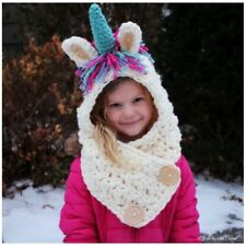 Kids Girls Winter Hat Cute Unicorn Crochet Children Warm Cap Scarf Set