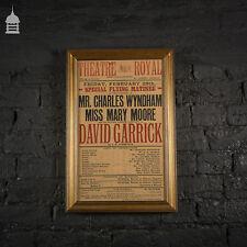 More details for original turn of the century framed theatre poster for 'david garrick'