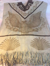 Vintage Leather Skin Poncho With Aztec Eagle And Maggey Plants Designs & Tassels
