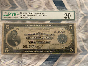 $5 1918 Federal Reserve Bank Note Minneapolis FR 804 Pmg 20