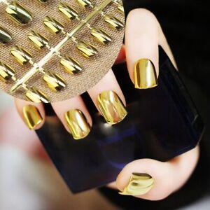 Female Shiny Fake Sexy Nail Art Short Manicure Hands Fingernail Tips Metallic