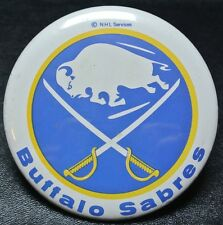 Vintage Original BUFFALO SABRES NHL PINBACK BUTTON - 1970's - Old Logo - Nice