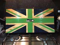 Seattle Seahawks NFL Union Jack Rustic Wooden Flag