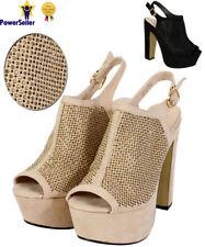 Women Ladies Ankle Strap Platform Chunky Block Heel Party Sandals Shoes UK Size