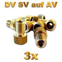 3x Fahrrad Ventil Adapter Ventiladapter von SV DV BV auf Autoventil AV KFZ Pumpe