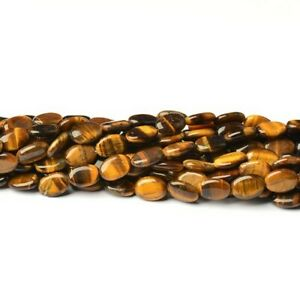 Yellow/Brown Tiger Eye Beads Puffy Oval 10x14mm Strand Of 22+