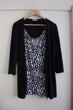 W Lane Black Animal Print Chain Knit 2 in 1 Cardigan Top Size 14 16 Long line