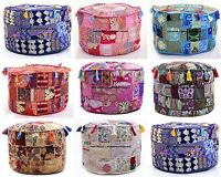 5 PC LOT Indian Traditional Handmade Patchwork Ottoman Pouffe Footstool Covers